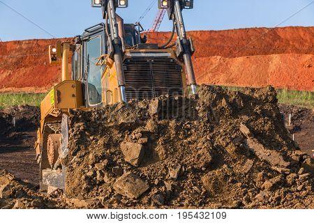 Earthworks Dozer Machine Bucket Soil