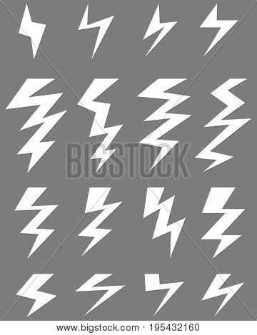 White icons of thunder lighting on a gray background