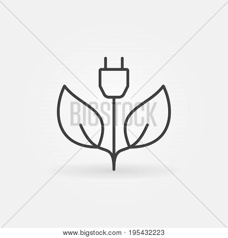 Green energy concept icon - vector leaves with plug sign or design element in thin line style