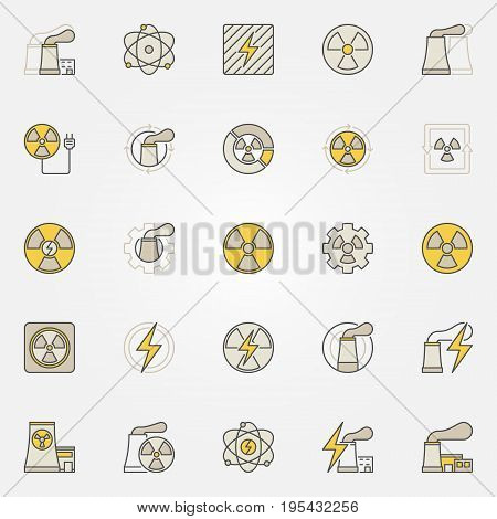 Nuclear power colorful icons set. Vector nuclear plants, industrial buildings, radiation and energy creative symbols