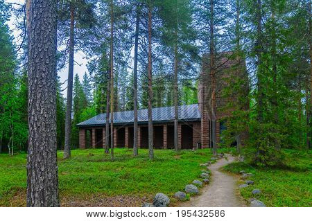 Mausoleum and memorial for German soldier who died in WWII Lake Norvajarvi north of Rovaniemi Lapland Finland