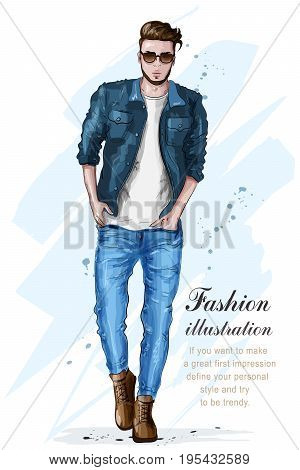 Stylish handsome man in fashion clothes. Fashion man. Hand drawn male model. Sketch. Vector illustration.