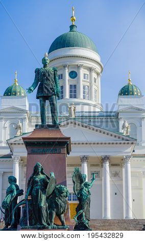 Monument Of Emperor Alexander Ii, And Lutheran Cathedral, In Helsinki