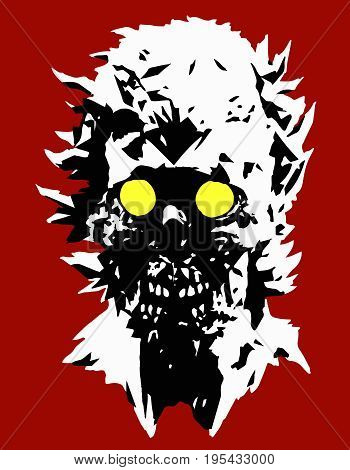 Danger zombie head with a torn face. Vector illustration. Angry character face for halloween. The horror genre.