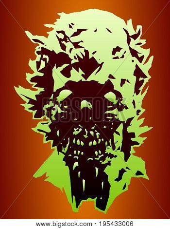 Danger skull of the angry zombie with a torn face. Vector illustration. Scary character face for halloween. The horror genre.