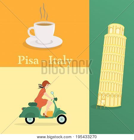 Let's go to Pisa. Leaning tower of Pisa, cup of coffee and girl on scooter in Italian colors.