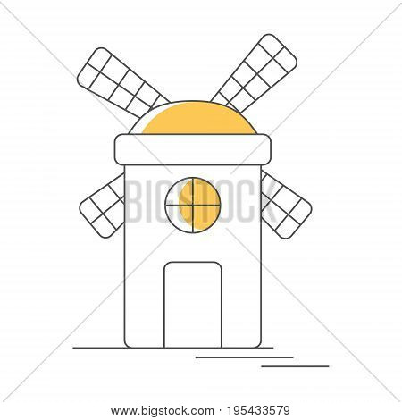 Windmill or mill line icon with color element. Vector illustration. EPS 10