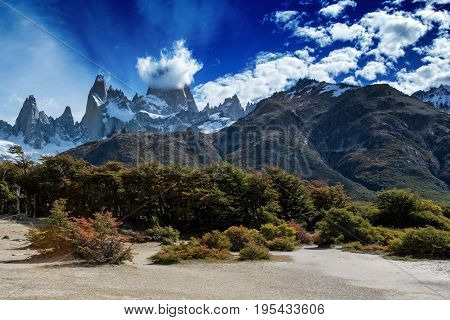 Mount Fitz Roy in Patagonia in Argentina and its neighboring granite towers as seen from hike towards Laguna de los Tres