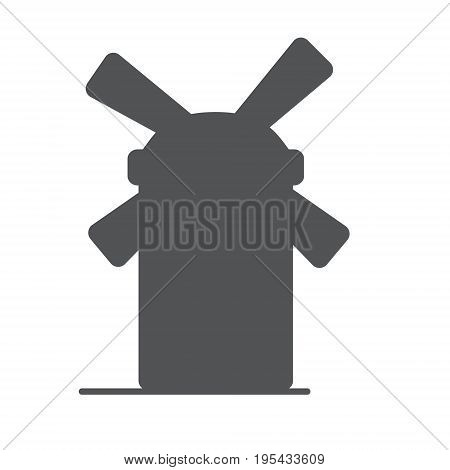 Windmill Or Mill Line Icon With Shadow. Vector Illustration