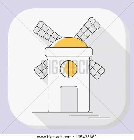 Windmill Or Mill Line Icon With Long Shadow. Vector Illustration