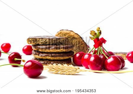 Cherry Biscuits And Fruits Isolated