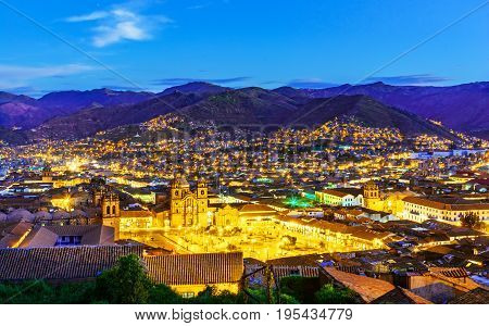 Cusco, Peru - Overview Of The Plaza De Armas And Church Of The Society Of Jesus