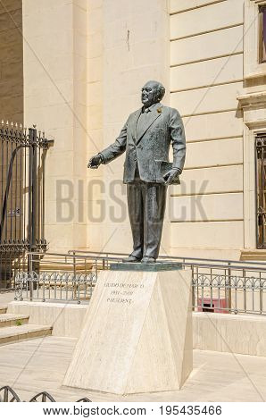 Memorial for Guido de Marco a Maltese politician and 6th President of Malta at the Republic Street in Valletta