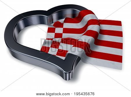 flag of bremen and heart symbol - 3d rendering