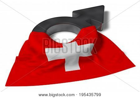 mars symbol and flag of switzerland - 3d rendering