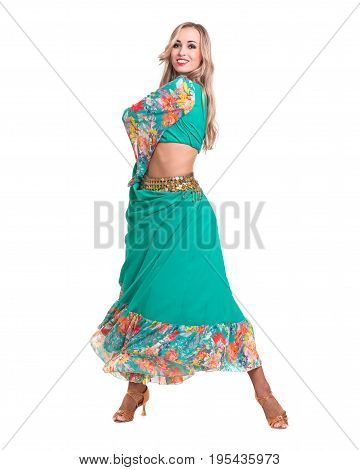 young woman dancing flamenco, isolated in full body on white background