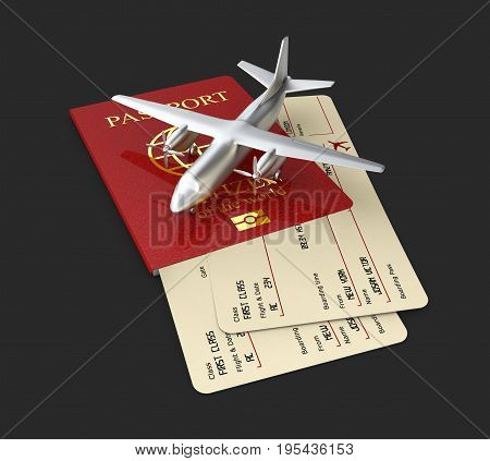 3D Illustration Of Aircraft With Boarding Pass And Passport, Isolated Black