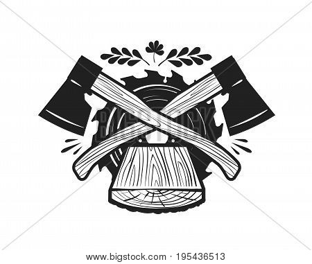 Sawmill, felling logo. Woodwork, joinery, carpentry icon or label. Vector illustration isolated on white background