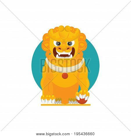 Vector illustration of a Chinese guardian lion or imperial guardian lion also known as Foo Dog or Japanese Komainu Korean Xiezhi or Haetae.
