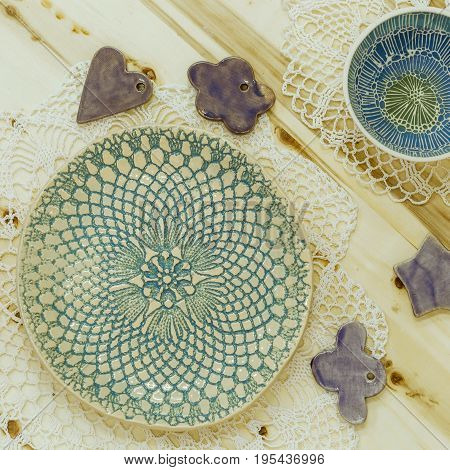 author's beautiful gift ceramic plates with paintings plates with drawings