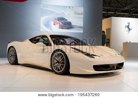 White Ferrari 458 Challenge Sports Car
