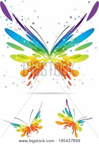 Set colorful butterflies on white background, vector illustration