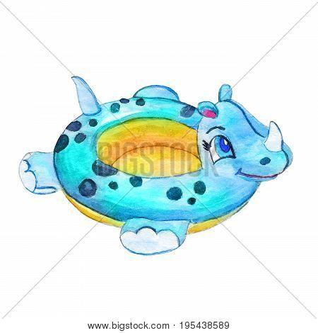 Hand Drawn Watercolor Swim Ring Hippo Illustration Isolated White Background. Summer Cartoon Travel Blue Lifebuoy Image