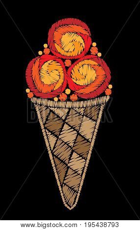 Ice cream embroidery stitches imitation. Fashion embroidery ice cream on black background. Embroidery food vector.