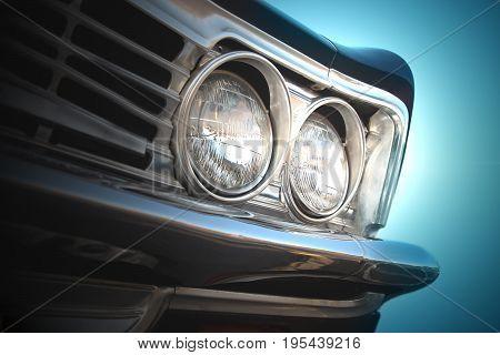Close up of headlight lamp retro vintage car