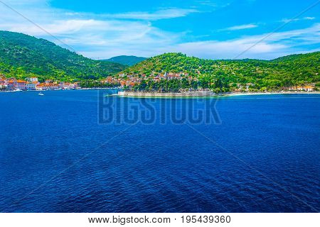 Seafront view at amazing summer landscape in south of Croatia, Island Vis.