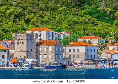 Waterfront view at coastal town Vis in south of Croatia, Mediterranean scenery.