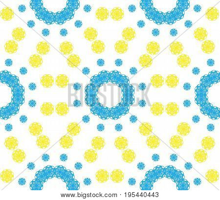 Abstract seamless pattern of a circular form of blue yellow color.Background for broad application with a possibility of change.Vector illustration.