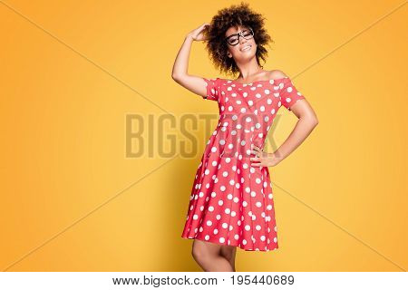African American Girl In Red Dress.