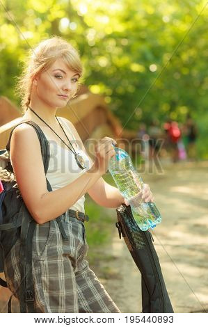 Tourist Woman With Backpack Water Bottle