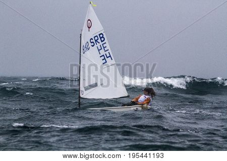 20 July 2015, Sailing fleet hit by a storm at the European Championships, Pwllheli , Wales, UK