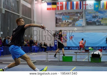 ST. PETERSBURG, RUSSIA - JULY 7, 2017: Raul Must of Estonia (pictured) vs Henri Aarnio of Finland in badminton tournament White Nights. Must won 2:0