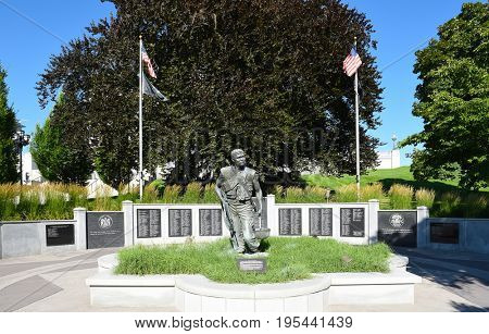SALT LAKE CITY, UTAH - JUNE 28, 2017: Vietnam, Cambodia and Laos Veterans Memorial. Located at the State Capitol Building it honors veteran soldiers from Utah who served in the Vietnam Conflict.