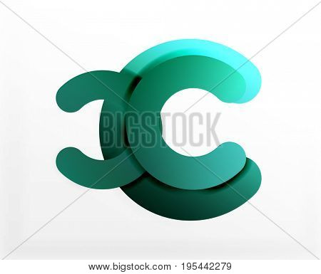 Circle geometric abstract background, colorful business or technology design for web. Paper round shapes - rings, geometric 3d style texture, banner