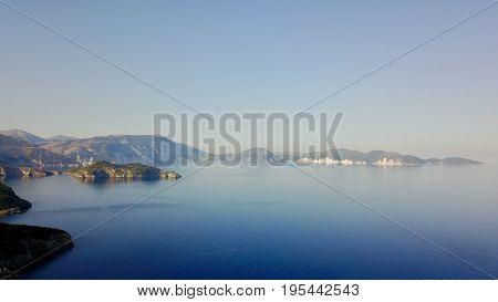 Aerial photo above Ionian Sea coastline of Kefalonia, Greece