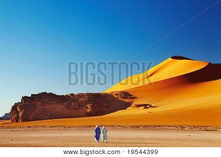 Two tuaregs in desert, Sahara Desert, Algeria