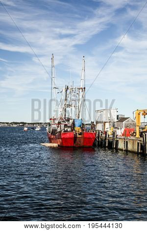 PROVINCETOWN-SEPTEMBER 14:  Fishing boat in Provincetown in Cape Cod , Massachussets, USA on September  14, 2014.
