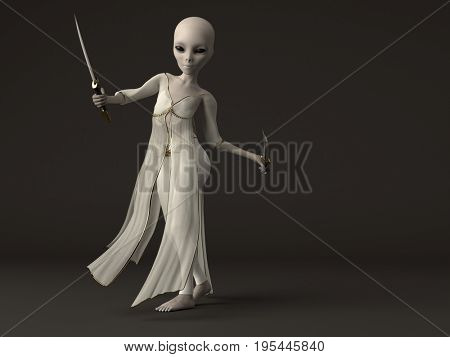 3d rendering of the grey alien girl with daggers
