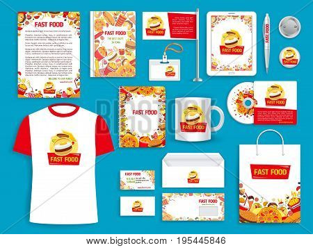 Fast food corporate identity templates of supplies for branding of fastfood restaurant or company promo. Vector isolated set of stationery, t-shirt apparel, business cards, flags or mugs and blanks