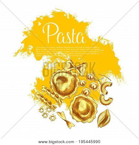 Italian pasta and spaghetti sketch poster. Italian cuisine fresh pasta sketches with spaghetti, penne, farfalle, macaroni, ravioli, rigatoni, fusilli, conchiglie, lasagna shapes. Italain food design