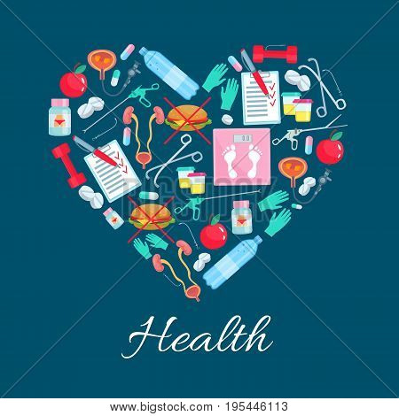 Health, diet and obesity. Vector heart symbol of healthy dietary medications and sport items of pills, weight scales and fast food burger, apple fruit and syringe, bladder organ and fitness barbells