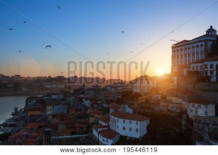 Bird's-eye view of Ribeira and  Douro river at dusk, Porto, Portugal.