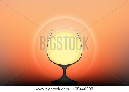 vector drink the sun, twilight silhouette brandy glass with the sun halo, illustration celebrate success is concept.