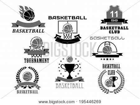 Basketball club or tournament icons and championship award badges set. Vector isolated symbols of basketball ball in goal basket, winner cup prize or champion ribbon with stars