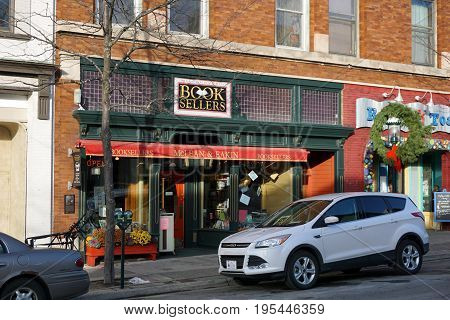 PETOSKEY, MICHIGAN / UNITED STATES - NOVEMBER 22, 2016: One may purchase books at McLean and Eakin, Booksellers, on Lake Street in downtown Petoskey.