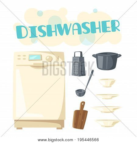 Dishwasher and dishes or kitchenware. Vector design of dish washing machine household appliance and dishware of cutting board, saucepan or frying pan, ladle and grater, plates, cups and bowls or mugs